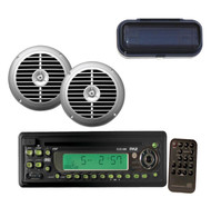 """New Outdoor Marine Boat CD/MP3 Player, 6.5"""" Waterproof Silver Speakers w/ Cover"""