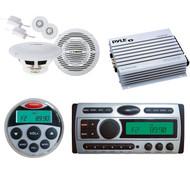 "New Marine CD Mp3 WMA Radio +2x- 6.5"" 150W Marine Speakers+ 400W Amp + Remote"
