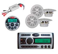 "800W Amp, Marine Remote,4x 4"" White Speakers + New Pyle Boat CD Mp3 360W Radio"