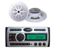 """2x-5.25"""" White 100W Speakers + New Pyle PLCDMR97 CD AM/FM Mp3 Waterproof Radio"""