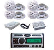 "8x 5.25"" White Speakers, Antenna, Amp,8""  Subwoofer+ New Marine CD AM/FM Radio"
