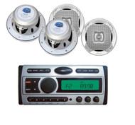 """4- Lanzar 6.5"""" Silver 2-Way Speakers + PLCDMR97 Marine AM FM Mp3 CD Receiver"""