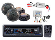 New Marine Boat AM/FM Receiver Stereo USB/SD AUX Player 4 Speakers 800W Amp Pkg