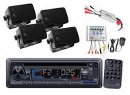 New Marine Boat CD MP3 USB AUX SD Input Radio 4 Speakers & 800W Amp + PA System