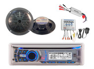 "Dual Marine Boat CD iPhone Bluetooth Stereo 2 5.25"" Boat Speakers + 4Ch 800W Amp"