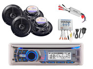 AMB600W Marine CD MP3 Bluetooth Radio Player/Amplifier PA Audio System 4 Speaker