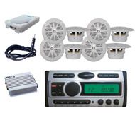 "Pyle Marine DVD CD Receiverr+ 8"" Subwoofer,Antenna,8x 4"" White Speakers,400W Amp"