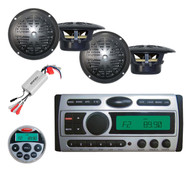 "New Pyle CD DVD MP3 Marine Player +4"" Black 100W Speakers+Marine Remote+800W Amp"
