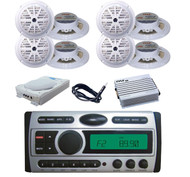 "8"" Subwoofer,8x 5.25"" White Speakers,Amp,Antenna + New Marine DVD CD AM FM Radio"