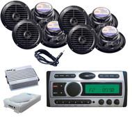 "Antenna,8"" Slim Sub woofer,Amp,8x 6.5"" Black Speakers + Pyle DVD CD Mp3 Receiver"