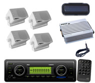 Antenna,Amp,4x 200W White Mini Speakers,Cover+Pyle Marine WB AUX SD USB MP3 Unit