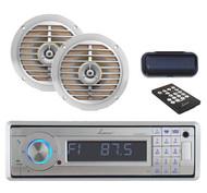 "Lanzar Marine CD USB SD AUX AM/FM Radio w/Cover+2 X 5.25"" Silver 100W Speakers"