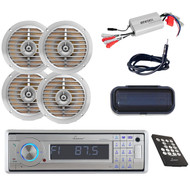 """Marine AUX SD USB AM/FM CD Receiver w/Cover,Amp,Antenna,2x Silver 5.25"""" Speakers"""