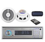 "Lanzar Silver Marine CD AUX SD Receiver+ Radio Cover+ 6.5"" 120W White Speakers"
