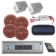 6X Marine Speakers,Amp,Cover+ Lanzar Marine AM/FM USB SD MP3 AUX Bluetooth Radio
