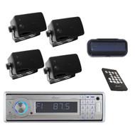 AQCD60BTS Silver Marine Yacht AUX CD SD MP3 USB Radio 4 Black Box Speakers+Cover