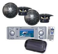 "4x-4"" Speakers+800W Amp+ PLDMR3U Marine Yacht DVD/CD Receiver with a 3"" Monitor"