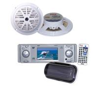 "New PLDMR3U InDash Marine CD/DVD Receiver w/3'' Built In Monitor+4"" Blk Speakers"
