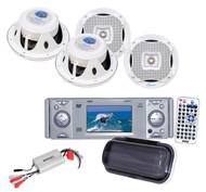 "Lanzar Marine 6.5"" Speakers,Antenna,Amp, Subwoofer + Pyle Marine DVD CD Receiver"