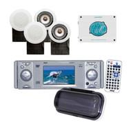 "4x-5"" White 500W Speakers,1800W Amp + PLDMR3U WB AUX DVD CD Marine Boat Receiver"