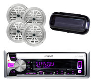 "Kenwood Marine Radio CD USB AUX iPhone Input 4 x 4"" Silver Speakers,Radio Cover"