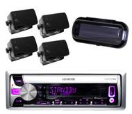 Kenwood New KMR-D358 iPhone iPod Pandora Radio Player,4 Black Box Speakers,Cover