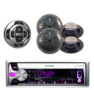 "Kenwood Boat CD/MP3 USB iPhone Pandora Radio 4 x 5.25"" Speakers+Wired Remote"