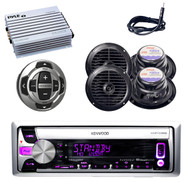 KMRD358 Boat iPhone CD USB Radio, 4x Blk Speakers Antenna Wired Remote+ 400W Amp