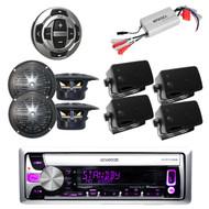 KMR-D358 Boat CD/MP3 USB iPod Radio w/Wired Remote, 8 Black speakers + 800W Amp
