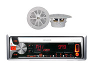 "KMR-D558BT Marine Car CD/USB/AM/FM/Bluetooth Receiver w/ 4"" White 100W Speakers"
