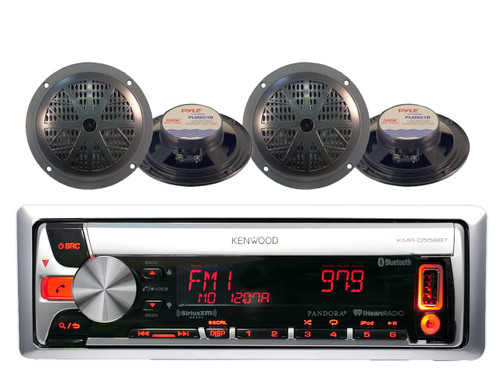 New Marine Boat Bluetooth Pandora CD MP3 USB AM/FM Radio Receiver 4 Speakers Pkg