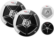 "New Boss Audio Marine Boat Yacht 6.5"" 2-Way Loudspeaker 250W Max Stereo Speaker System With 3 Color Removebable Grills Option - 1 Pair"