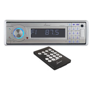 AQCD60BTS Lanzar AM/FM-MPX In-Dash Marine Detachable Face Radio CD/SD/MMC/USB Player & Bluetooth Wireless Technology (Silver)
