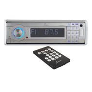 AQCD60BTS Lanzar AM/FM-MPX In-Dash Marine Detachable Face Radio CD/SD/MMC/USB Player & Bluetooth Wireless Technology (Silver)