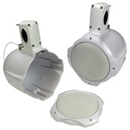 """Pair Custom White 6 1/2"""" Empty Wakeboard Tower Marine ATV Enclosures System for 6.5"""" Audio Speakers By Q Power"""