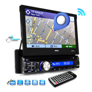 New Pyle PLBT73G 7-inch Bluetooth and GPS Navigation Headunit Receiver with Built-in Mic for Hands-Free Call Answering, Touch Screen, CD/Multimedia Disc Player, USB/SD Card Readers, AM/FM Radio, AUX Input