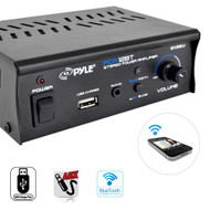 New pyle Bluetooth Mini Blue Series Stereo Power Amplifier, 2 x 25 Watt, USB Charge Port, RCA and AUX (3.5mm) Input Connector Jacks