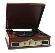 Pyle PTT30WD Bluetooth Vintage Style Turntable with USB Recording Compatible with CD, Cassette Players, AM/FM Radio and MP3 - Wood