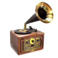 New PVNP30BT Vintage Turntable Horn Phonograph/with Bluetooth AM/FM CD USB Input