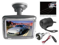 "New Pyle 3.5"" LCD Window Suction Mount Monitor + Night Vision Backup Camera Kit"