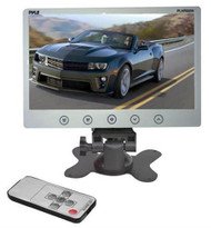 New White PLHR98W 9.2'' TFT LCD Headrest Monitor w/Stand & Shroud w/RCA & Remote