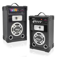 New PSUFM625 PAIR of 600W 2-Way PA Speakers USB/AUX Input & DJ Flashing Lights