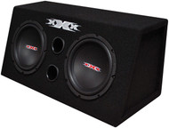 "Xxx Dual 8"" Bass Box With Amplifier And Wiring Kit 800W Black Woofers"
