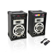 New PSUFM835A PAIR of 600W 2-Way PA Speakers USB/AUX Input & DJ Flashing Lights