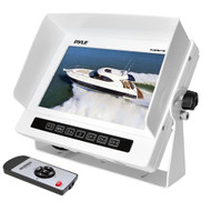 PLMRM71W Pyle Marine Grade Water Proof IPX7 7'' LCD Wide-Screen Monitor with Anti-Glare Shield & Universal Stand (White)