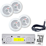Pyle Marine Radio Receiver, Speaker and Cable Package - PLMR89WW AM/FM-MPX IN...