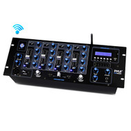 New Pyle PYD1962BU 4-Channel Bluetooth DJ Mixer with USB Flash, SD Memory Card Readers & LCD Digital Display