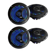 4 X New Pyle PLMR6LEB 6.5'' Waterproof Audio Marine Grade Dual Speakers with Built-in Programmable Multi-Color LED Lights, 150 Watt, Black (Pair)