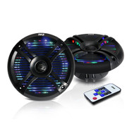 "New Pyle PLMRX68LEB 6.5"" Waterproof Audio Marine Grade Dual Speakers with Built-in Programmable Multi-Color LED Lights, 250 Watt, Black (Pair)"