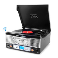 Pyle PTR8UBTBK Bluetooth Turntable System, Retro Vintage Classic Style Vinyl Record Player with Vinyl-to-MP3 Recording (Black)